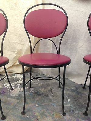 4 antique ice cream chairs, wrought iron w red vinyl upholstered seats and backs