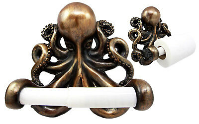 Bronze Finish Octopus Toilet Paper Holder Bathroom Wall Mount Collectible