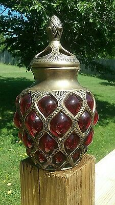 VINTAGE RUBY GLASS Encased in Brass with Bulging Circles