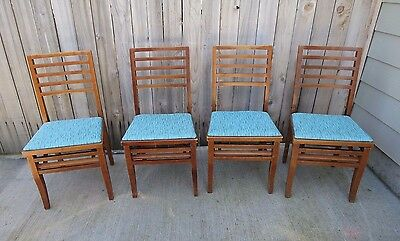 Antique Set of Four (4) Louis Rastetter Hardwood Solid Kumfort Folding Chairs