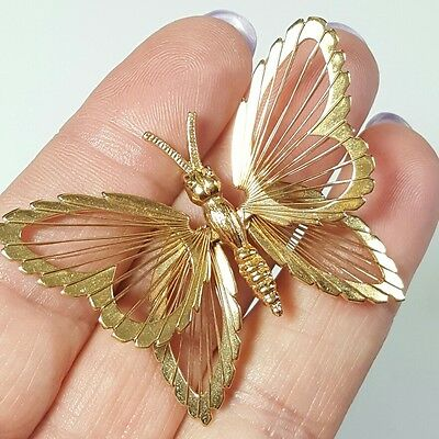 Vtg Jewelry Brooch Scarf Pin Gold Tone Metal Butterfly Filigree Beautiful #4824