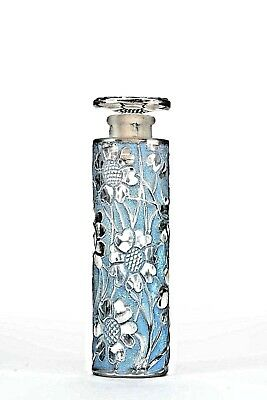 French Art Deco Tall Cylindrical Glass Perfume Bottle(LES CING FLEURS by FORVIL)