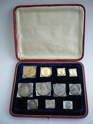 Victoria 1887 11 Coin Gold and Silver Proof Set Five Pound -Threepence with box