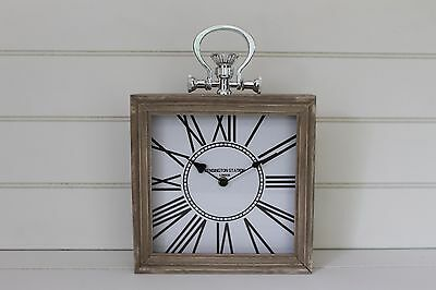 Large Square Table Clock  Wood Rimmed Mantle Clock White Face Roman Numerals