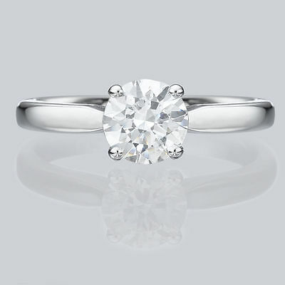 0.6 Ct H/SI1 Round Cut Diamond Solitaire Engagement Ring Enhanced 14K White Gold