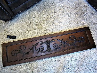 BIG Carved Tiger Oak Fireplace Mantle Panel Victorian Furniture Cabinet Pediment