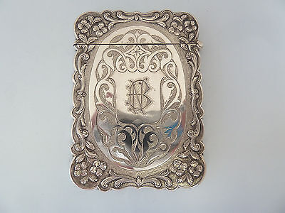 Victorian SOLID SILVER Embossed and Chased Card CASE. Birmingham 1876. 'NB'