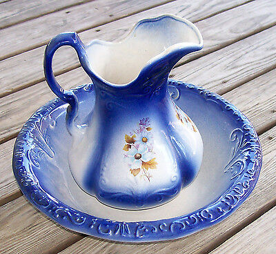 Antique Wash Bowl and Pitcher R S Prussia Blue Flowers
