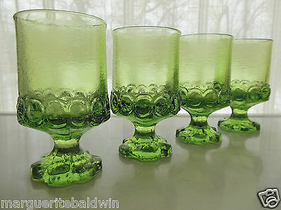 Tiffin Glass 4 Franciscan Apple Green Madeira 7 oz Footed Juice Wine Tumblers