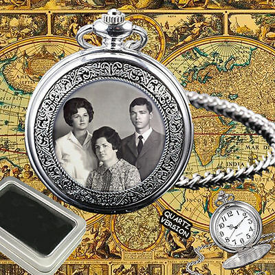 Personalised Quartz Pocket Watch Custom Your Family, Favorite People Photo Gift
