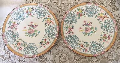 Pair of 1883 Marked Minton Hand Painted Soft Paste Porcelain Butterfly Plates