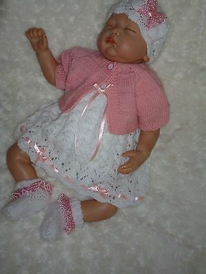 """Adorable 5 Piece Hand Knitted Outfit - To Fit Approx. 20-22"""" Reborn"""