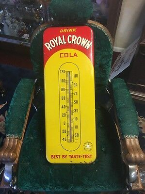 Vintage/Original RC ROYAL CROWN COLA Metal Soda Thermometer Sign~WORKS GREAT~