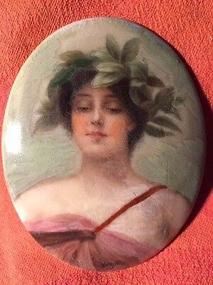 "1885 California, Antique Porcelain Plaque, Nymph ""Daphne"", A.M. Wagner, Listed"