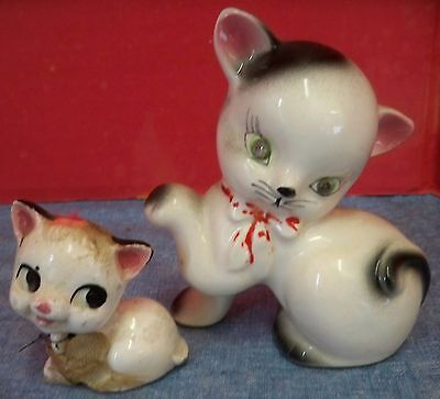 "2 Vintage Ceramic Cats Kittens Made in Japan Rhinestone Eyes Appr 4"" and 2"" Tall"