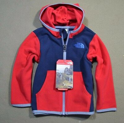 Nwt Boys Kids The North Face Infant Glac Full Zip Jacket Hoodie Coat Sz 18 Mo