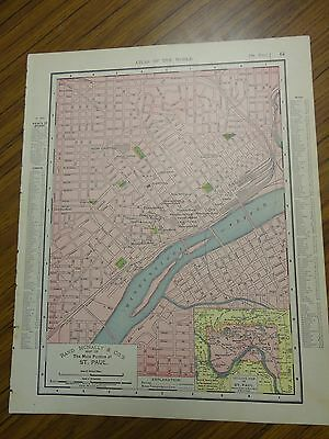 1895 antique colored map of St. Paul-Rand, McNally's & Co's Atlas of the World