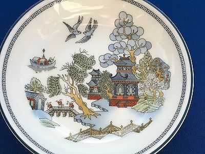 """WEDGWOOD CHINESE LEGEND 4"""" BUTTER PAT MINI PLATE PAGODAS With BRIDGE"""