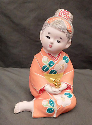 Japanese Handmade Hakata Doll Origami Clay Sitting Girl Figurine
