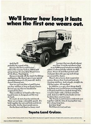 1971 TOYOTA Land Cruiser Frank Conn Owns First One Sold Cle Elum WA VTG PRINT AD