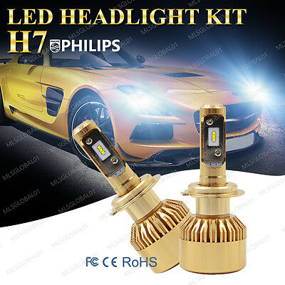 H7 200W 20000LM PHILIPS LED CAR HEADLIGHT KIT BULBS 6500K Canbus REPLACEMENT