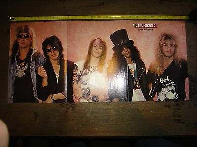 RARE Vintage GUNS N' ROSES Band Photo Pin-Up w Klassic KISS On Back METAL MUSCLE
