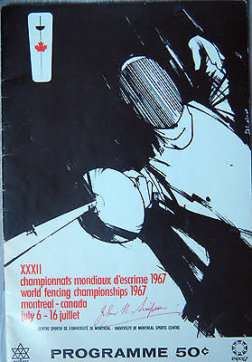Rare Programme- World  Fencing Championships 1967 -Montreal -Canada