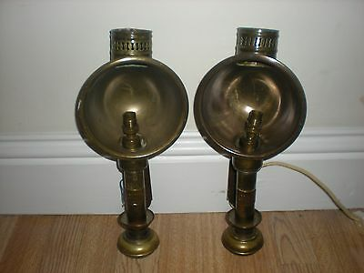 Pair Of Vintage Brass Great Western Railway (Gwr) Carriage Lights Very Rare Item