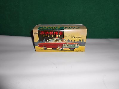 Vintage Tin Friction With Siren  Fire Chief Car In Box