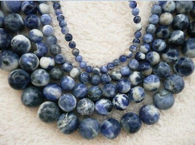 UKcheapest-light sodalite round 4 6 8 10 12mm gemstone beads blue white