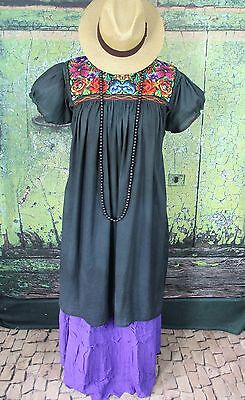New Style Dusty Black Dress Mayan Chiapas Mexico Hippie Boho Cowgirl Santa Fe