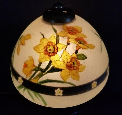 Antique Rare HANDEL DAFFODIL #7016 Chipped Ice Boudoir Reverse Painted Lamp