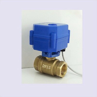 "Motorized Electrical Ball Valve DN15 G1/2"" 12V 2 Way CR01 2 Wire Brass Copper *"