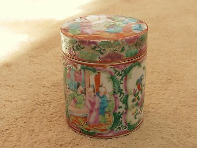 STUNNING ANTIQUE 19th C CHINESE FAMILLE ROSE MEDALLION TEA CADDY POT WITH LID