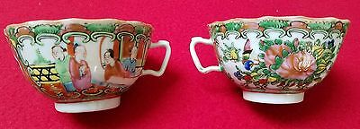 2 Antique 19thC Chinese Export Rose Medallion Porcelain TEACUPS - NO chips!!