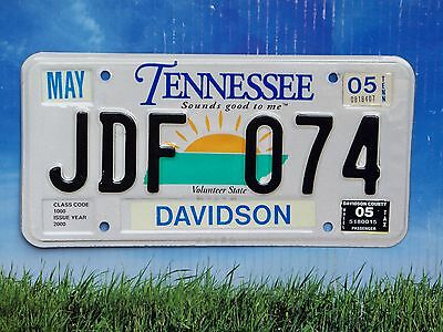 2005 Tennessee License Plate JDF 074 Davidson County - Nashville Area