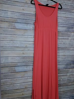 Women's Gap Maternity Maxi Dress Size Large Sleeves Stretch Long Summer Coral