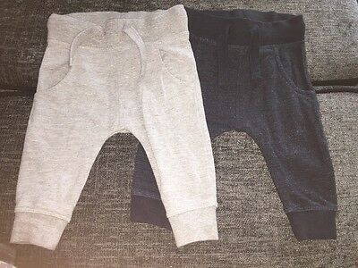 Next Baby Boys Jogging Bottoms Set Of 2 Trousers 3-6 Months Grey Navy Joggers