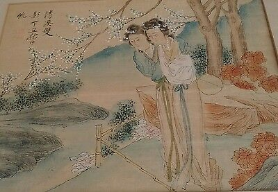 Chinese Painting of Two Lady's in  a Garden superb quality.