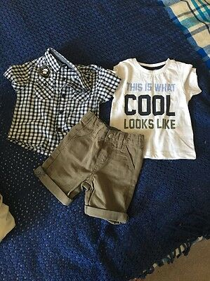 Boys Clothing Set- Shorts, T.shirt & Shirt. 12-18 Months. New With Tag.