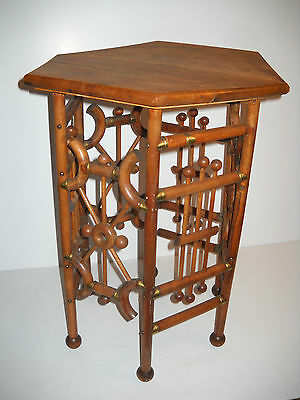 Vintage Victorian Six Sided Bent Oak Stick And Ball Wood  Side Accent Table