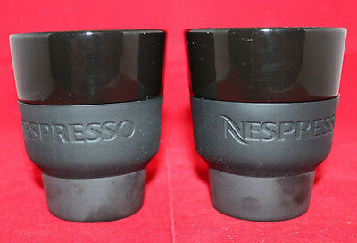 Nespresso Porcelain Coffee Touch Mugs Cups Black Geckeier Michels Set of 2