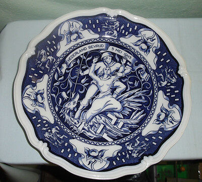 Vintage Dutch Pottery Commemorative Plate-Liberation Of The Netherlands-1945