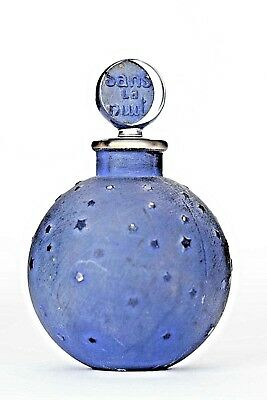 French Art Deco Ball-Shaped Blue Stained Glass Perfume Bottle (DANS LA NUIT)