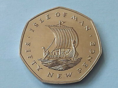 1971 Iom 50P  - Rare Proof - Isle Of Man 50 / Fifty Pence - First Year Of Issue