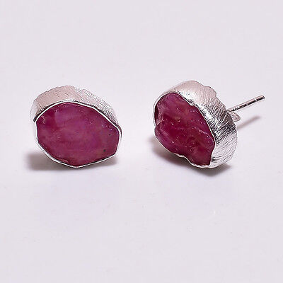 925 Sterling Silver Stud Earrings, Raw Corundum Ruby Handcrafted Jewelry RSSE25