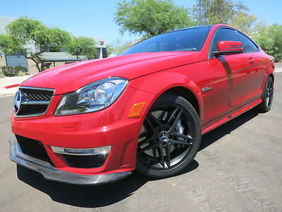 2012 Mercedes-Benz C-Class C63 AMG Coupe Carbon Fiber Pano Roof Heated Seats $70k Orig MSRP Red 2011 2013 2010 2014 c63