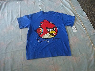 new angry birds youth boys short sleeve blue cotton t-shirt size XL