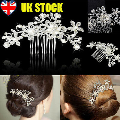 Fashion Wedding Bridal Pearl Flower Crystal Hair Pins Clips Bridesmaid Clips UK