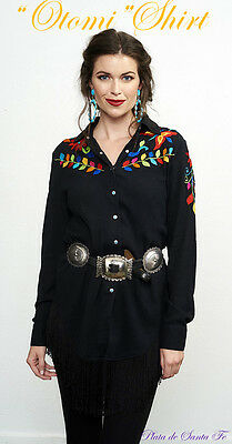 Roja Collection~Black~Colorful  Embroidered+Western Style+OTOMI SHIRT~One Left~